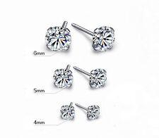 Diamante a bottone stile cristallo orecchini con argento 925 posteriori