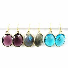Bezel Gemstone Oval Pendant Earrings - Gold Plated Hooks - All Stones