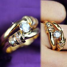 24K GOLD GF WOMENS 1CT INFINITY LOVE KNOT ANNIVERSARY DIAMONDS WEDDING RINGS SET