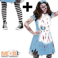 Zombie Alice + Tights Teens Halloween Fancy Dress Fairytale Horror Girls Costume