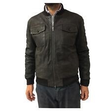 ANDREA D'AMICO chaquetón de hombre marrón oscuro forrado 100% piel
