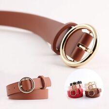 Retro Vintage Cummerbunds Leather Gold Round Buckle Waistband Women Belts