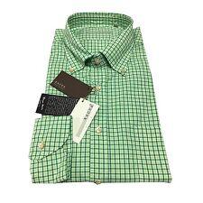 XACUS camicia uomo quadri verde 100% cotone lavato THOMAS MASON slim fit