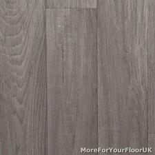 Mid Grey Wood Plank Vinyl Flooring, Slip Resistant Lino 4m Cushion Floor Kitchen