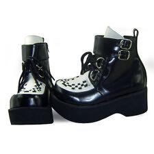 schwarz steam-punk gothic emo damen-schuhe Shoes gotik Plateau-Schuhe wedges neu