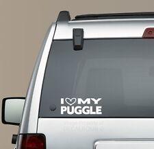 I Heart my Puggle decal sticker - puppy treat pug beagle mix