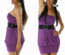SEXY MISS Femmes Bandeau Ballon Girly Mini Robe Ceinture S/M 34/36 M/L 36/38 Violet