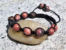 Natural Rhodonite pink gemstone bead  shamballa macrame boho beaded bracelet