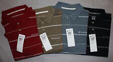 New Columbia Men's Short Sleeve Striped Polo Shirt NWT