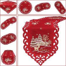 Noël Chemin de table/ Surnappe/ Napperon blanc rouge avec une optique de lin