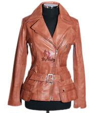 Diaz Tan Waxed (2812) Ladies Stylish Retro Soft Sheep Nappa Leather Jacket