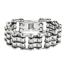 Men's Silver Black Stainless Steel Motorcycle Racing Bike Chain Bracelet