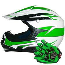 Casque Moto Casque MotoCross Enfants Brillant Vert QUAD + Gants Leopard
