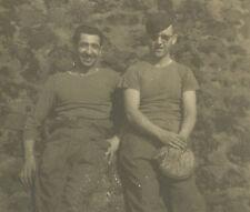 VINTAGE US ARMY BASEBALL PLAYERS LT HAGAN WW2 ERA OLD CATCHER MITT ANTIQUE PHOTO