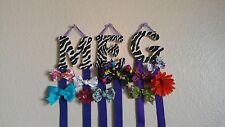 Zebra Print w/ Purple Custom Monogram Hair Bow & Barrette Holder