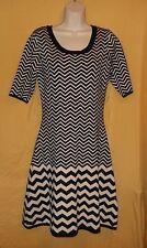 Gabby Skye women's black cream sweater knee career church dress ss top M $88