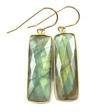 "Labradorite Earrings Blue Rectangle Long Bezel drops 14k Gold 1.9 "" Dangles"