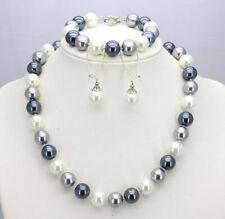 f57cfb75e058 10 12mm Blanco Gris Plata Mar Concha Perla Collar Pulseras Pendientes  Conjunto AAA