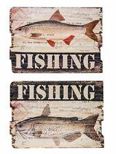 2x Bild Wandtafel Tafel Fishing Holzbild Wandbild Fischfang Angler angeln