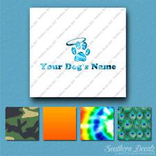 Custom Pet Memorial Paw Halo Dog Name Decal Sticker - 25 Printed Fills - 6 Fonts