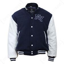 Stile Vintage NY Baseball Giacca-Navy Blue Mens Letterman JERSEY-Tutte le Taglie