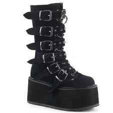 "Demonia Black Velvet 3.5"" Platform Mega Buckle Studded Boots Club Goth 6-12"