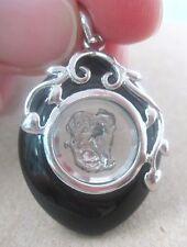 "925 Sterling Silver ""MONKEY Spin & Black Onyx"" Chinese Horoscope Pendant -UNISEX"