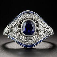 Vintage Art Deco 925 Silver White Topaz Sapphire Evil Eye Finger Ring Size 6-10