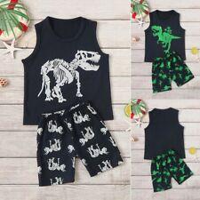 Toddler Infant Boys Baby Kids Summer Dinosaur Vest+Shorts Outfit Set Clothes YO