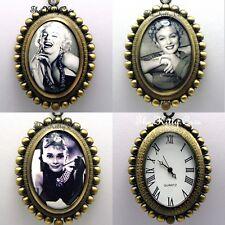 Miniature Noir & Blanc Monroe Hepburn Gravure Femmes Filles Collier Montre