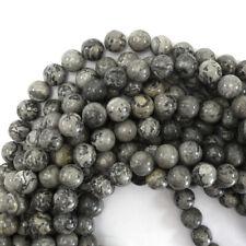 "Gray Leopard Skin Jasper Round Beads Gemstone 15"" Strand 4mm 6mm 8mm 10mm 12mm"