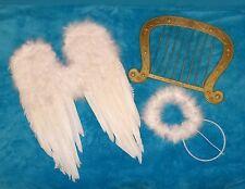ALA BIANCO ARPA ALI D'ANGELO Aureola 40 cm Costume da angelo Insieme Natale