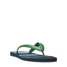 Ralph Lauren Purple Label Layton Nautical Green Nappa Leather Sandals Thongs NIB