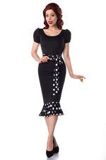 Sexy abito-jersey maniche-puff ROCKABILLY 50er nero bianco retro anni 1950 pois