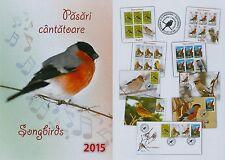 Rumänien 2015 Singvögel,Songbirds,Birds,Tiere Mi.6926-29,Zf.,KB,Block 615,FDC.