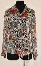 VTG 80s SEXY Zebra Sheer Layering Dressy Button up Blouse Shirt Top sz L