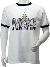 Mod una forma de vida para Hombre Contraste Ringer Ska Camiseta-Mods Scooter de destino