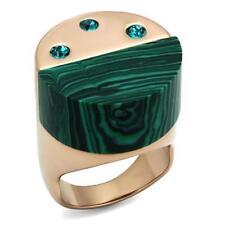 2986 MALCHITIE GREEN STAINLESS STEEL ROSE GOLD RING NO STONE NO TARNISH TOPAZ
