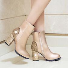 Blingbling Damen Stiefel Party Schuhe Blockabsatz Stiefeletten Reißverschluss