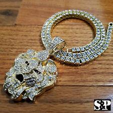 """Men Hip Hop Iced Out Big Lion Head pendant & 16"""" 18"""" 20"""" 1 ROW Tennis chain set"""