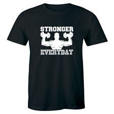 Stronger Everyday Men T-shirt Weight Lifting Gym Training Bodybuilding Tee Shirt