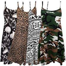 New Ladies Printed Cami Strappy Long Swing Vest Mini Dress16-26