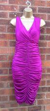 VIntage Style  Julien MacDonald Cerise Ruched Drape Pencil Wiggle Dress 8 - 16