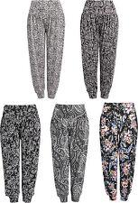 Ladies Full Length Floral Print Harem Yoga Women's Ali Baba Trousers Size 8 - 16