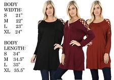 WOMENS CRISS CROSS LONGLINE DOLMAN SLEEVE SOFT STRETCHY TUNIC TOP BLOUSE DRESS