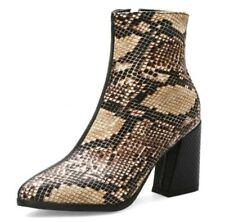 UK Women's Biker Dress Pointy Toe Block Mid Heel Ankle Boots Chelsea Shoes 34-43