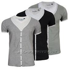 Herren T-Shirt SUBLEVEL V-Ausschnitt mit Einsatz Gr.S,M,L,XL,XXL
