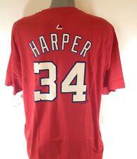 NEW Mens Majestic Washington Nationals Bryce Harper #34 MLB Red Tee T-Shirt