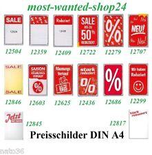 10 Preisschilder für Rahmen DIN A4 / Ankleber Plakat deko Display Kundenstopper