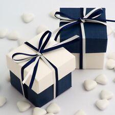 bleu marine et blanc soie deux Tons Carré boite & couvercle cadeau de mariage